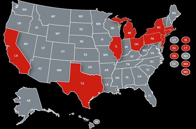 map of deregulated states for electricity